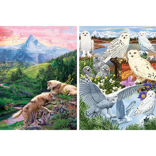 Set of 2: Prebox Snowy Owl Sanctuary/Hidden Wolves Valley 1000 Piece Jigsaw Puzzles