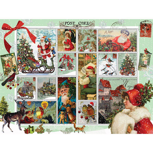 Vintage Christmas 500 Piece Stamp Jigsaw Puzzle