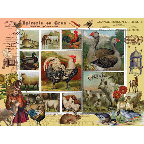 Farm Life 300 Large Piece Stamp Jigsaw Puzzle