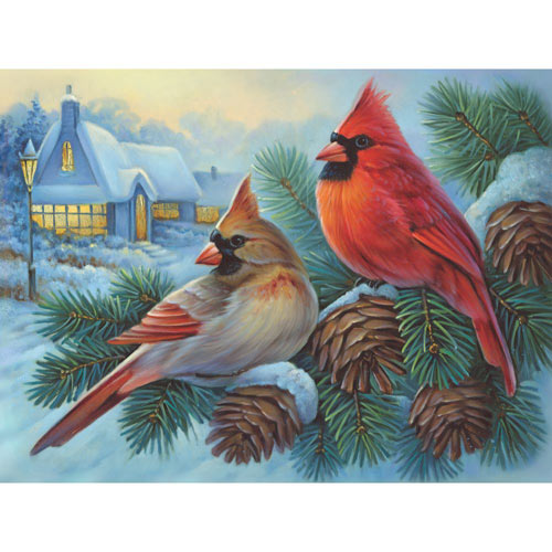 Winter Cardinals 500 Piece Jigsaw Puzzle