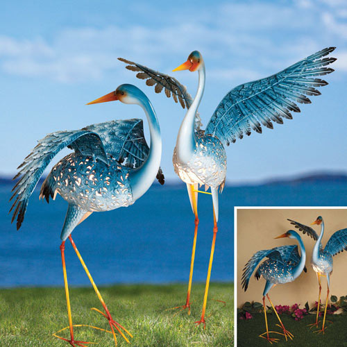 Set of 2: Great Blue Cranes Solar Metal Garden Sculptures