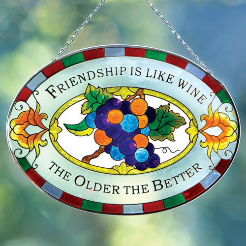 Wine and Friendship Suncatcher