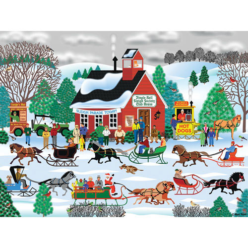 Jingle Bell Sleigh Society 300 Large Piece Jigsaw Puzzle