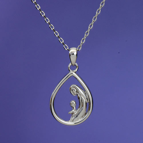 Mother & One Child - Mother and Child Sterling Pendant Necklace