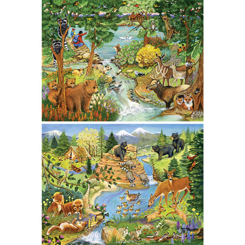 Set of 2: Sandy Rusinko Forest Animal 300 Large Piece Jigsaw Puzzles
