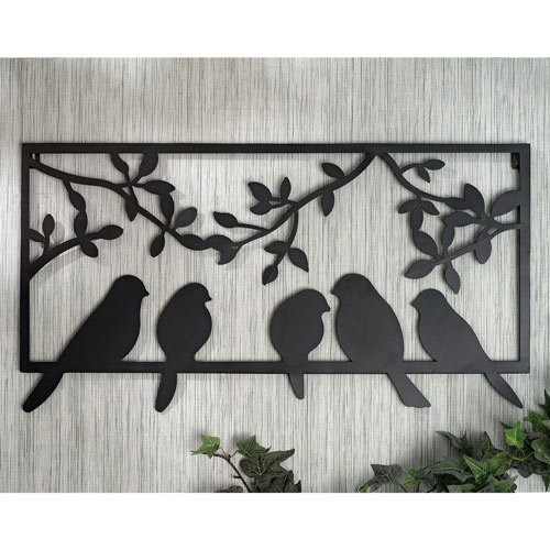 Perched Birds Metal Wall Art