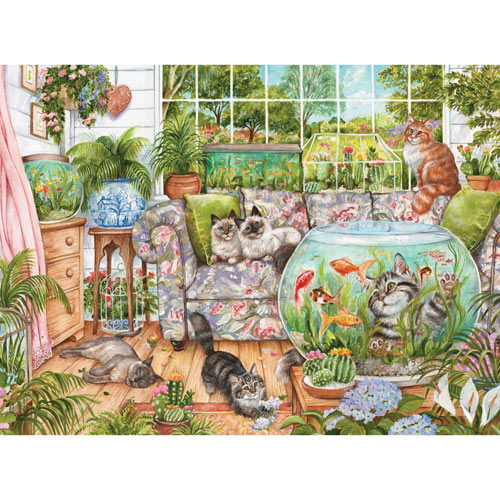 Cat Fishing 1000 Piece Jigsaw Puzzle