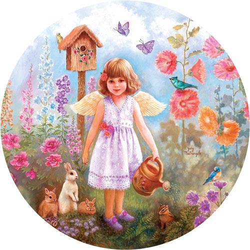 Gardening Angel 300 Large Piece Round Jigsaw Puzzle