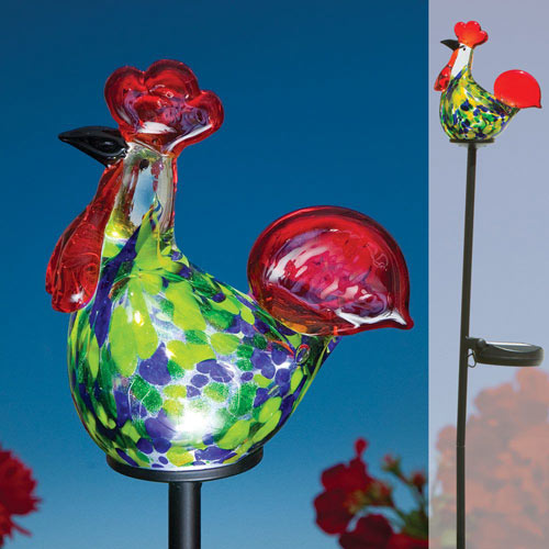 Blown Glass Rooster Solar LED Garden Stake