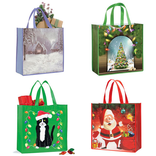 Set of 4: Holiday Tote Bags