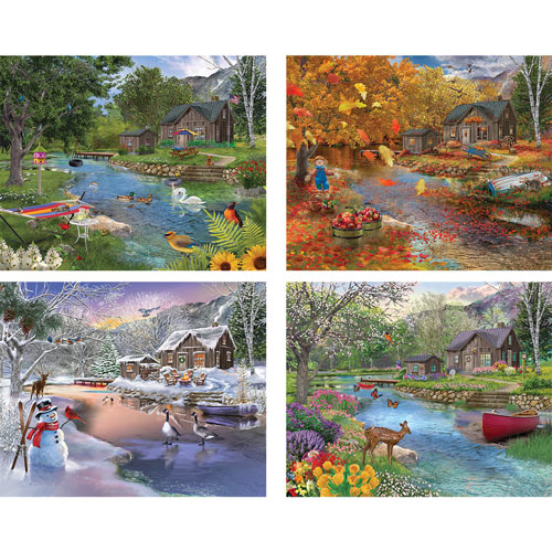 Set of 4: Bigelow Illustrations 300 Large Piece Jigsaw Puzzles