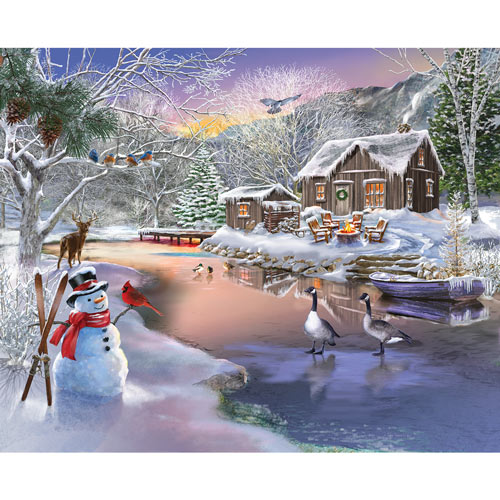 Winter Cabin 500 Piece Jigsaw Puzzle