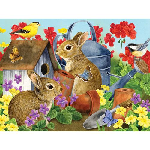 Bunnies & Birdhouse 300 Large Piece Jigsaw Puzzle