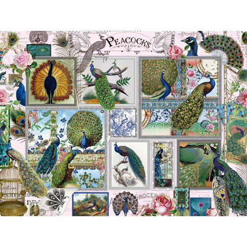 Peacocks Collage 500 Piece Jigsaw Puzzle