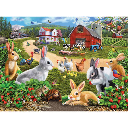 Strawberry Bunnies 300 Large Piece Jigsaw Puzzle