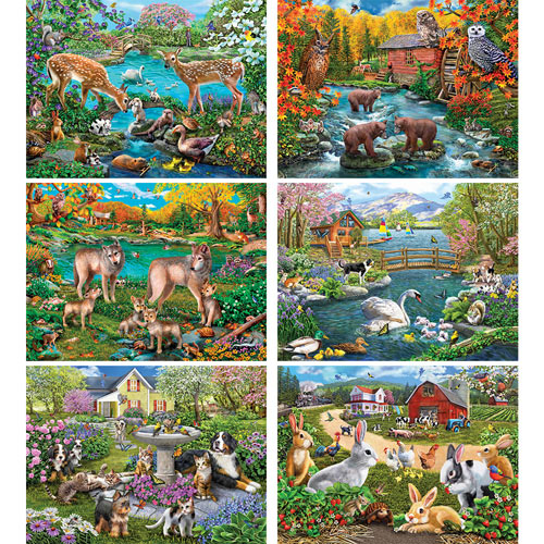 Set of 6: Mary Thompson 1000 Piece Jigsaw Puzzles