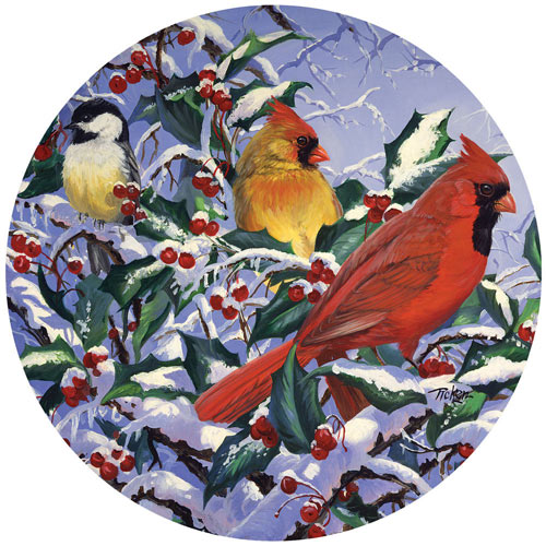 Cardinals In Holly With Chickadee 300 Large Piece Round Jigsaw Puzzle