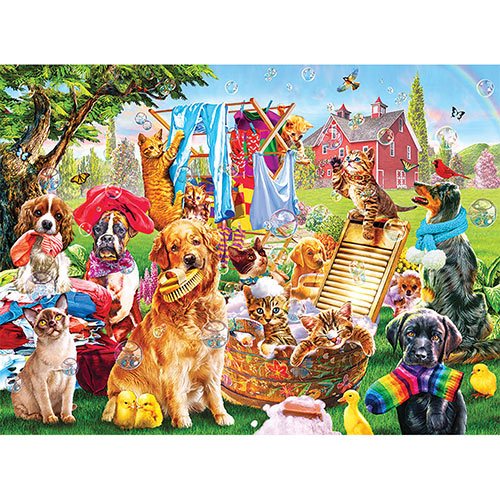 Pets On Wash Day 300 Large Piece Jigsaw Puzzle