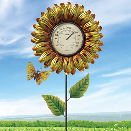 Blooming Flower Garden Thermometer