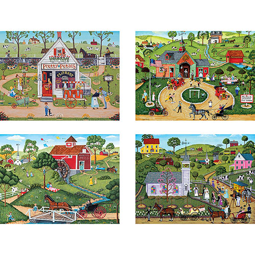 Set of 4: Joseph Holodook 300 Large Piece Jigsaw Puzzles