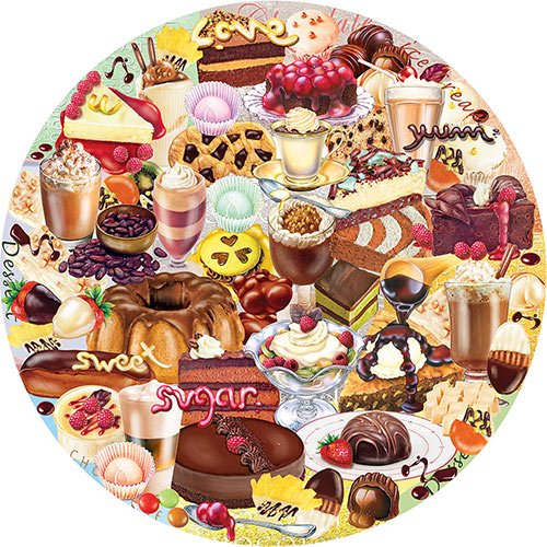 I Love Chocolate 300 Large Piece Round Jigsaw Puzzle