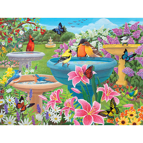 Birdbath Haven 300 Large Piece Jigsaw Puzzle
