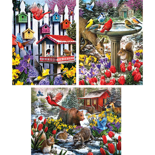 Set of 3 Pre-Boxed: Larry Jones 300 Large Piece Jigsaw Puzzles