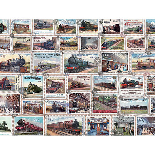 Vintage Train Stamps 300 Large Piece Jigsaw Puzzle