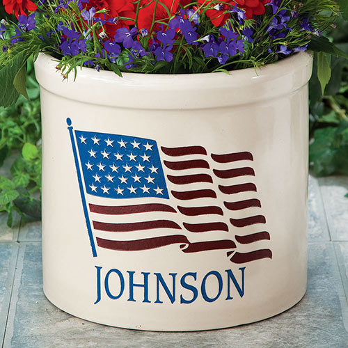 Personalized Patriotic Crock