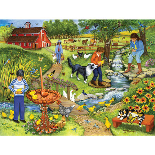 Sundial By The Creek 300 Large Piece Jigsaw Puzzle