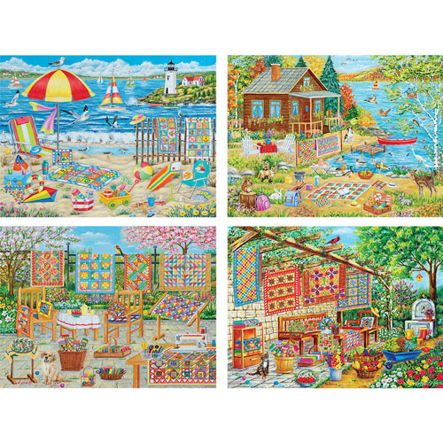 Set of 4: Vessela G. 300 Large Piece Jigsaw Puzzles