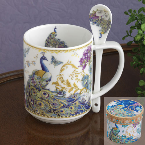 Ceramic Peacock Mug & Spoon Set