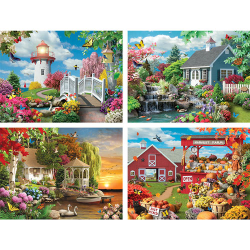 Scenic Beauty 4-in-1 Multi-Pack 500 Piece Jigsaw Puzzle Set