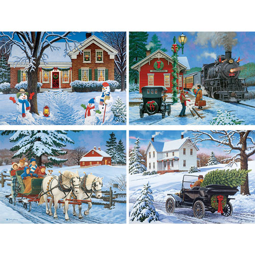 Set of 4: John Sloane Holiday 300 Large Piece Jigsaw Puzzles