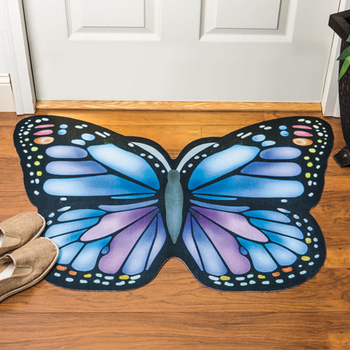 Blue Butterfly Floor Mat