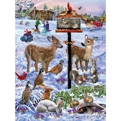 Forest Feeder Gathering 500 Piece Jigsaw Puzzle