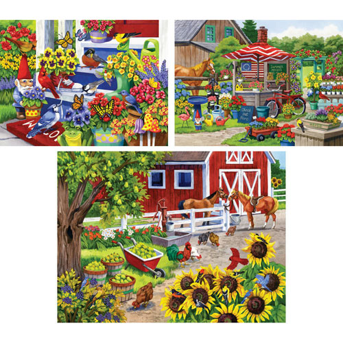 Set of 3 Pre-Boxed: Nancy Wernersbach 500 Piece Jigsaw Puzzles
