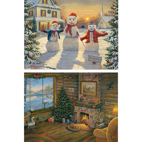 Set of 2: Sam Timm Christmas 300 Large Piece Jigsaw Puzzles