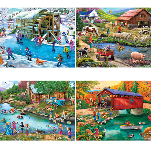River Escapades 500 Piece 4-in-1 Multi-Pack Puzzle Set