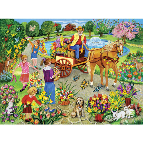Grandpa's Flower Cart 300 Large Piece Jigsaw Puzzle