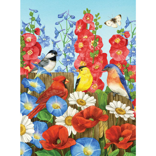 Hollyhock Fence 500 Piece Jigsaw Puzzle