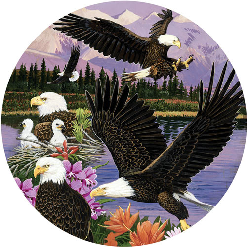 Eagle Sanctuary 300 Large Piece Round Jigsaw Puzzle