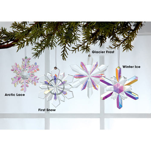 Faceted Crystal Snowflake Ornament - Winter Ice