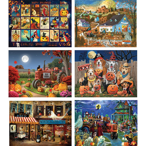 Set of 6: Halloween 300 Large Piece Jigsaw Puzzles