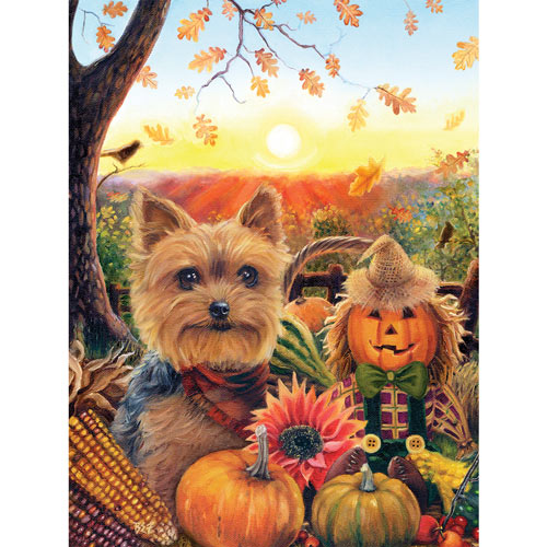 Pumpkin Sunrise Yorkie 300 Large Piece Jigsaw Puzzle