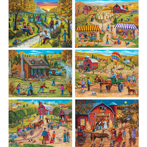 Set of 6: Christine Carey 300 Large Piece Jigsaw Puzzles