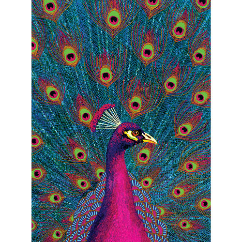 Pink Peacock 300 Large Piece Jigsaw Puzzle