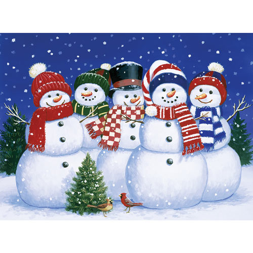 Five Snowmen 300 Large Piece Jigsaw Puzzle