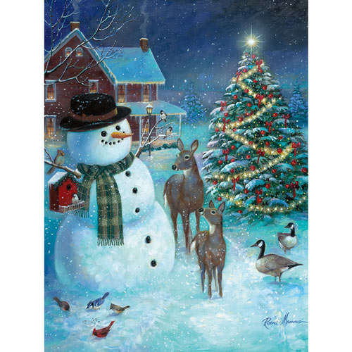 Snowman Greeting The Deer 1000 Piece Jigsaw Puzzle