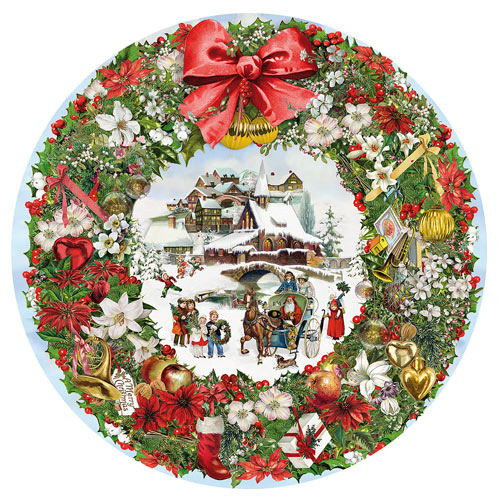 Christmas Wreath 300 Large Piece Round Jigsaw Puzzle